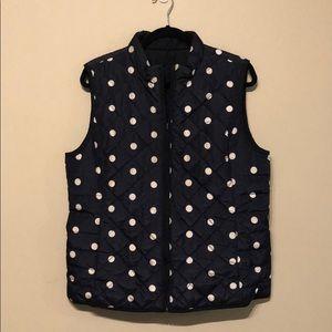 Reversible Navy Blue / Polka Dot Puffer Vest